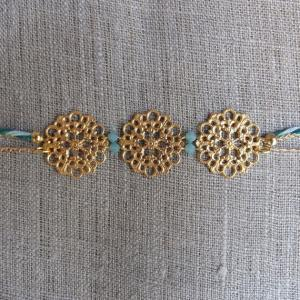 Golden flower headband braid green ..