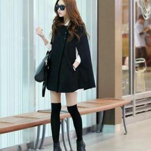 Fashion Womens Black Batwing Cape W..