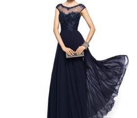 Vintage Chiffon Navy Blue Lace Crew Illusion Neck Prom Evening Gowns Appliques Beads Cap Sleeves Plus Size Mother of the Bride Dresses EB216