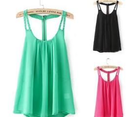 *Free Shipping* 2014 Women Blouse Spring Summer Tops Chiffon Blouse Sleeveless Rivet Spaghetti Strap Casual Shirts 5903