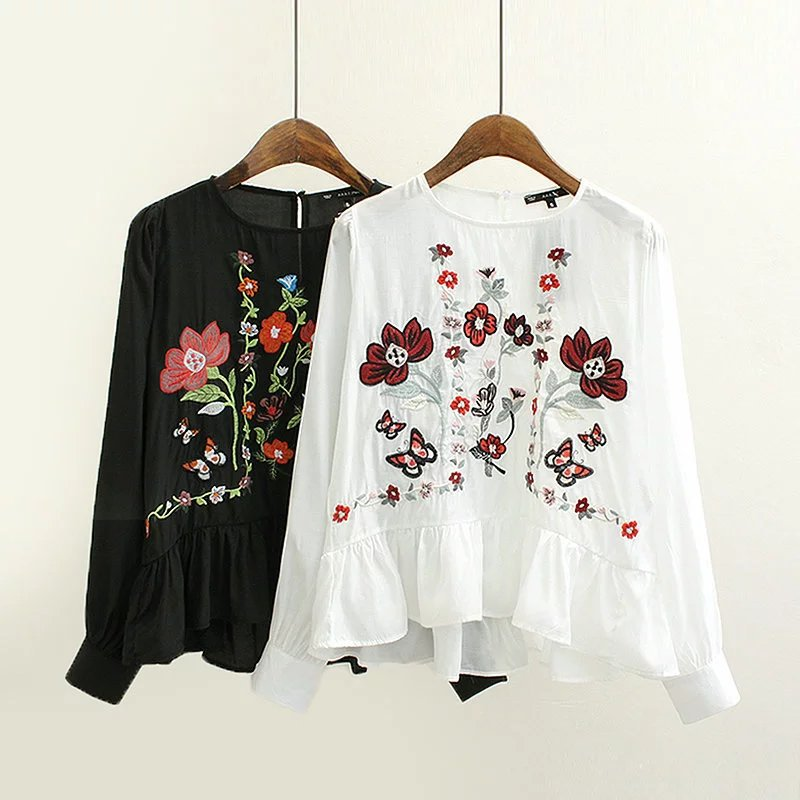 Floral Embroidered Crew Neck Long Cuffed Sleeves Blouse Featuring Ruffled Hem