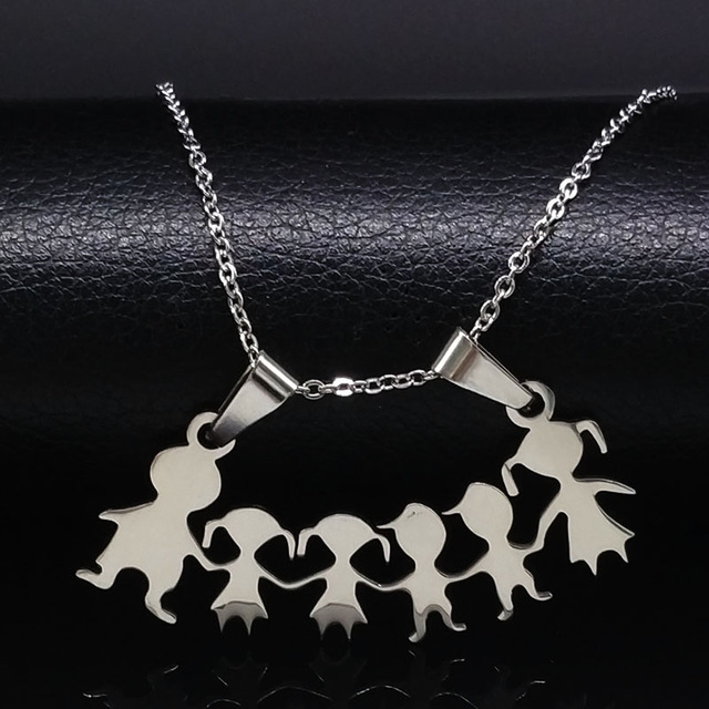 *Free Shipping* Stainless Steel Girls Boys Necklace Women Mama Kids Neckless Jewelry Accessories Silver Color Family Necklaces Jewerly N7191 32699882660