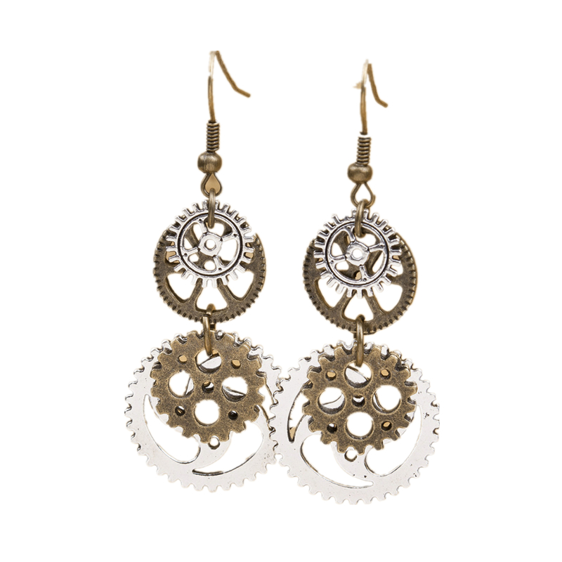 *Free Shipping* New Fashion Steampunk Earrings Antique Bronze Gear Pendants 60mm(2 3/8') x 23mm( 7/8'), 1 Pair 32669207627
