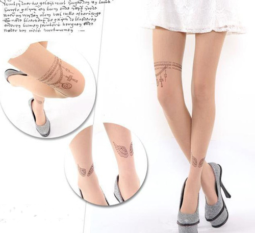 Japanese Harajuku Stocking Wing necklace printed sexy lady Tattoo Transparent Tights leggings Pantyhose Stockings