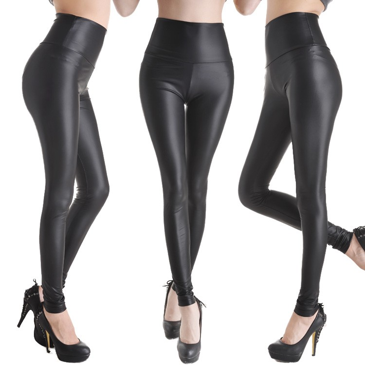 sexy women faux leather stretch high waist leggings pants. Black Bedroom Furniture Sets. Home Design Ideas