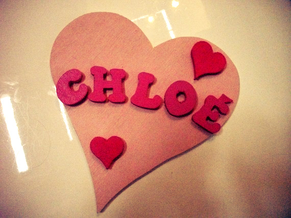 personalized door plate sign in heart with name pink girl