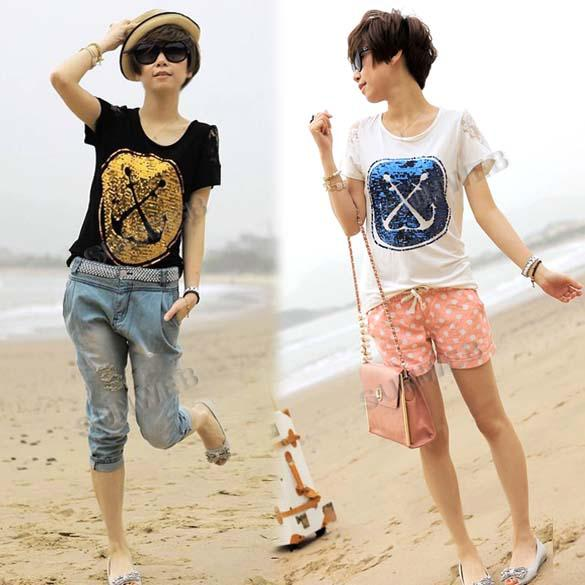 women's t-shirt Short Sleeve Cotton Anchor Pattern Lace Splicing Sequins T-shirt Tops 2 Colors