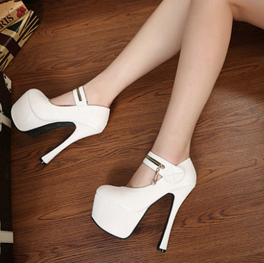 Sexy White Bridal Wedding Shoes High Platform Stiletto Heel Pumps ...