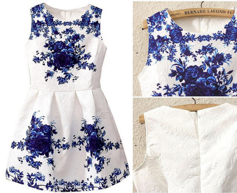 Spring/Summer New Vintage Style Elegant Brand Womens Fashion White Sleeveless Porcelain Print Flare Floral Party Work Dress