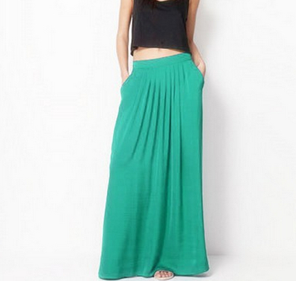 Female Celebrity Style Pastel Candy Colored Long Skirt Pleated ...
