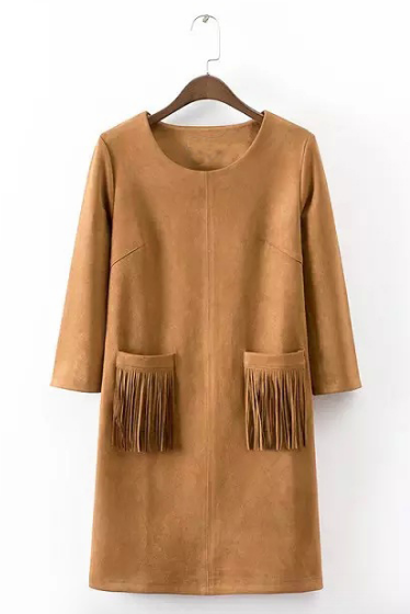 *Free Shipping* autumn winter new women's pocket tassels fringed pink black khaki blue faux suede dress long sleeve 32515453853