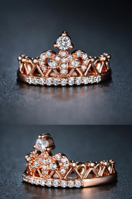 *FREE SHIPPING* Exquisite Crown Shaped Ring Rose Gold Color CZ Rings for Women Fashion Color Aneis De Ouro Zirconia Jewelry UR0217 32379294508