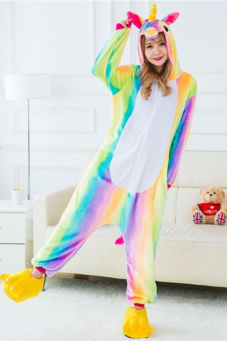 *FREE SHIPPING* Rainbow Unicorn Pajamas Animal Stitch Unicorn Panda Bear Koala Pikachu Onesie Adult Unisex Cosplay Costume Sleepwear For Men Women 2013771880