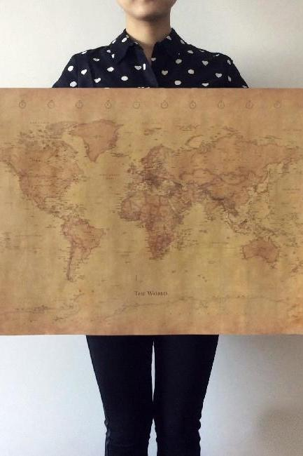 *Free Shipping* The old World Map huge large Vintage Style Retro Paper Poster Home wall decoration 32526840122