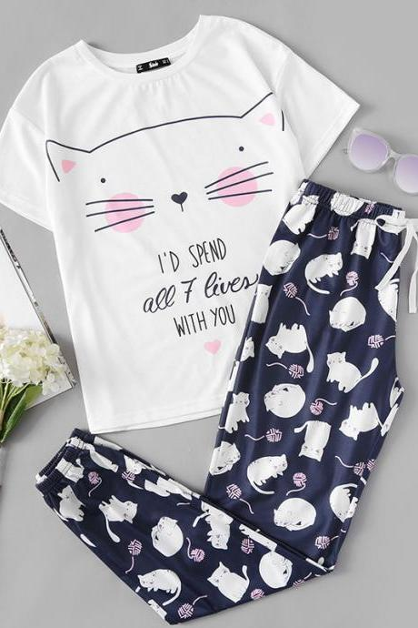 *Free Shipping* Cute Sleepwear Women Pajama Sets Women Cat Print Short Sleeve Round Neck White Tee and Blue Pants Pajama Set 32834222739