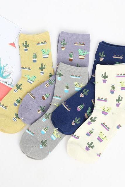 *Free Shipping* Foot 22-25cm Cacti Socks Fashion Daily Plant Ball Cactus Harajuku Lilac Lemon Fleshy Succulents Girlfriend Present Garden NADROP 32470334238