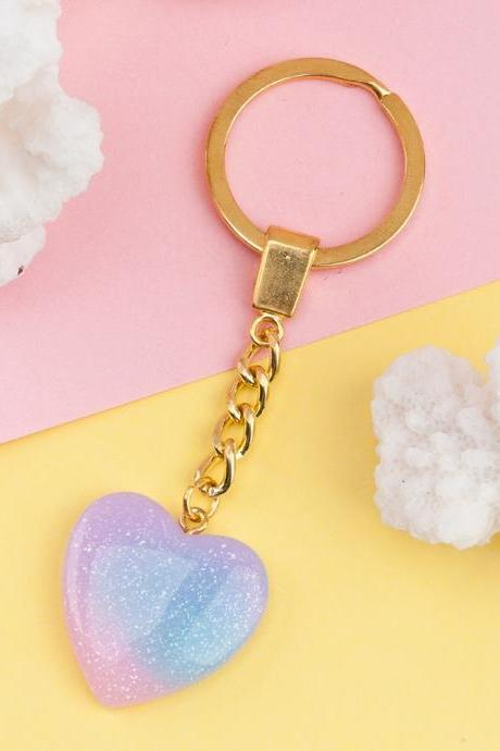 *Free Shipping* Doreen Box Resin Keychain & Keyring Heart Half Moon Blue Pink Glitter Key Chains Cute Romantic Style 1 Piece 32815111431