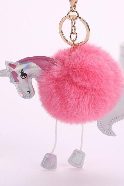 *Free Shipping* Doreen Box New Fashion Key Chains Keychain Pom Pom Woman Man Bags Car Key Rings Cartoon Horse Pink Blue Red Gray 1Piece 32816539275