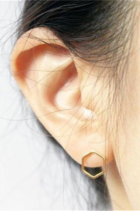 *Free Shipping* Minimalist Hexagonal Earrings Simple Geometric Earrings Easy To Match Everyday Wear Jewelry 32797445412