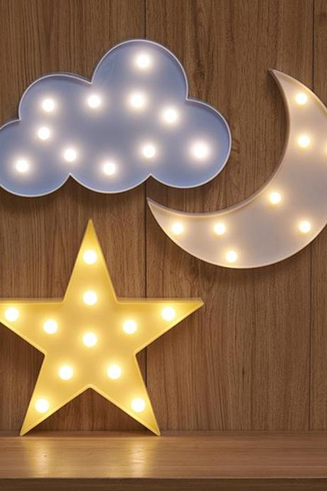 Lovely Cloud Star Moon LED 3D Light Night Light Cute Kids Gift Toy For Baby Children Bedroom Decoration Lamp Indoor Lighting 32833679026