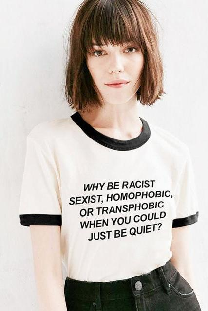 *Free Shipping* Why Be Racist Equal Rights Ringer T Shirt Unisex Fashion T Shirt Frank Ocean, Pride Gay Guys Lesbian Tumblr Hipster T Shirt 3xl 32845821707