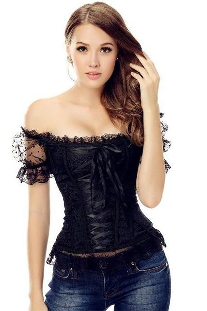 *Free Shipping* Bustier Corset Women Lolita Black Casual Lace-Up Fashion Puff Sleeve Autumn Vintage Lace Sexy Women Gothic Corset S M L XL XXL 32848880298
