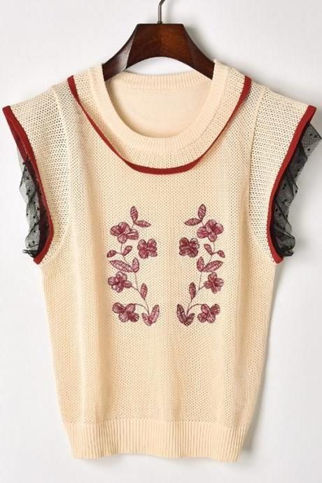 Ou Fan pick hollow embroidery mesh lace aircraft sleeve T-shirt 32864188759