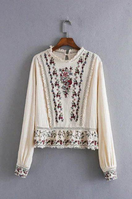 Floral Embroidered Ruffled Neck Long Cuffed Sleeves Blouse Featuring Frayed Hem