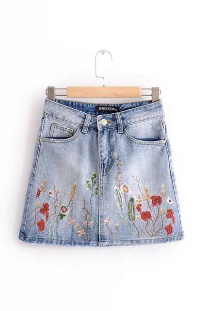 Floral Embroidered Light Washed Denim A-Line Mini Skirt Featuring Pockets