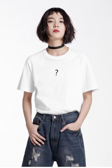 Question Mark Crew Neck Short Sleeves Tee