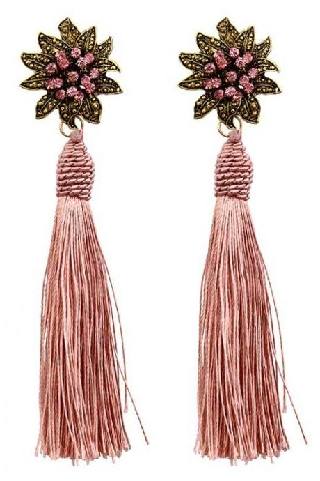 *Free Shipping* Ethnic Vintage Big Yellow Long Tassel Earrings Maxi Green Silk Thread Ethnic Crystal Flower Earrings For Women Jewelry Gift 32851056362