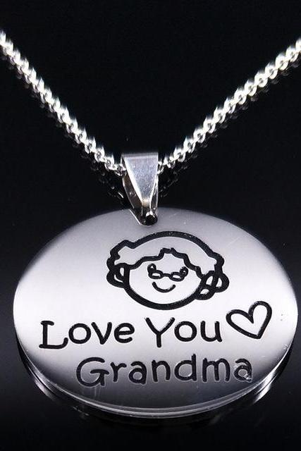 *Free Shipping* Family Grandma Stainless Steel Necklace Engraving Pendant Grandmother Choker Necklace Women Jewelry Gift Te quie ro Abuela N17781 I love you grandma 32819533285