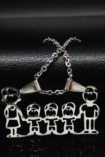 *Free Shipping* Stainless Steel Necklace Mama Family Necklaces Jewelry Silver Color Love Boy Girl Pendant Choker Necklace Women Gift N2201 32689213809