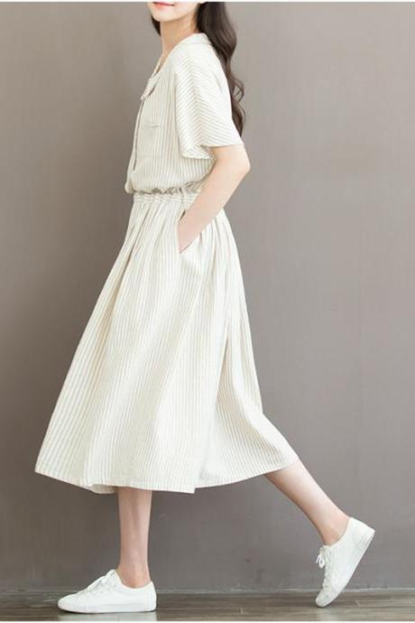 *Free Shipping* Summer Dress Women Clothing Cotton Linen Stripped Print Short Sleeve High Waist A Line Thin Women Dresses 32689552395
