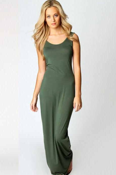 Large size summer sundress Spaghetti Strap sleeveless dress plus size large size o neck green beach boho long maxi dress 32853232596