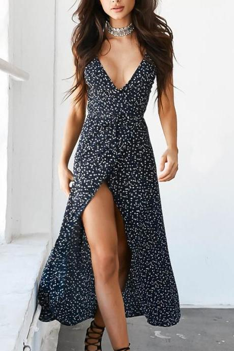 Floral Print Chiffon Long Dress 2018 Sexy V Neck Backless Boho Beach Dress Vestidos Women Split Summer Sundress Maxi Dress 32829485597