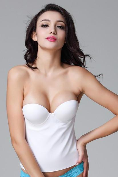 *Free Shipping* New white wedding Push up strapless bra Plus size A B C D DD White color women underwear 1772015236