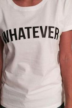 Whatever White Slogan T-Shirt Featuring Crew Neckline