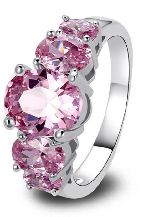 *Free Shipping* New Fashion Jewelry 925 Silver Ring Pink Sapphire Exquisite Gift For Women Size 6 7 8 9 10 11 12 13 2047185104