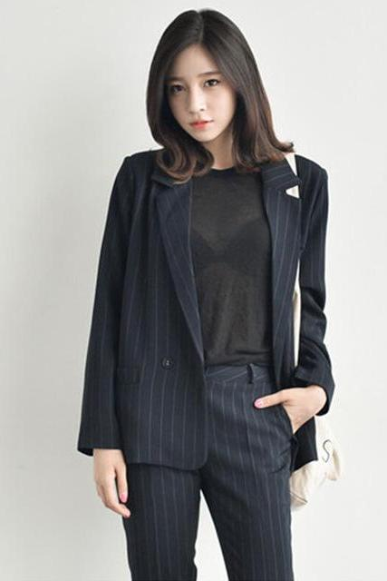*Free Shipping* Blazer Women Korean Women's Literature Show Thin Vertical Stripes Suit Temperament Ol Jacket 0911 32465799283