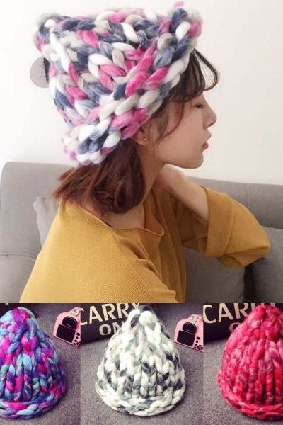 Winter Warm Women Crochet Handmade Knitting Hat Braided Thick Knit Cap Fashion Hats Coloful Knitted Beanies Womens Accessories 32502175193