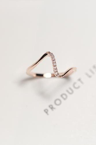 *Free Shipping* 17mm V shaped gold plated ring resizable fashion rings for women jewelry simple design 32292284887