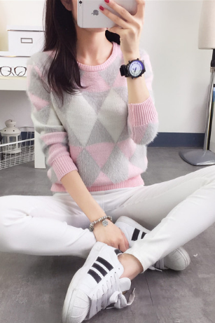 *Free Shipping* female pullovers yhkgg winter warm spring autumn fashion women sweater long-sleeved grid casual ladies sweater 32705634091