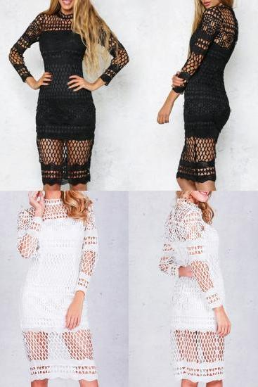*FREE SHIPPING* Hollow out white lace dress Women autumn winter long sleeve sexy dress Elegant evening party black dresses vestidos 32742676655