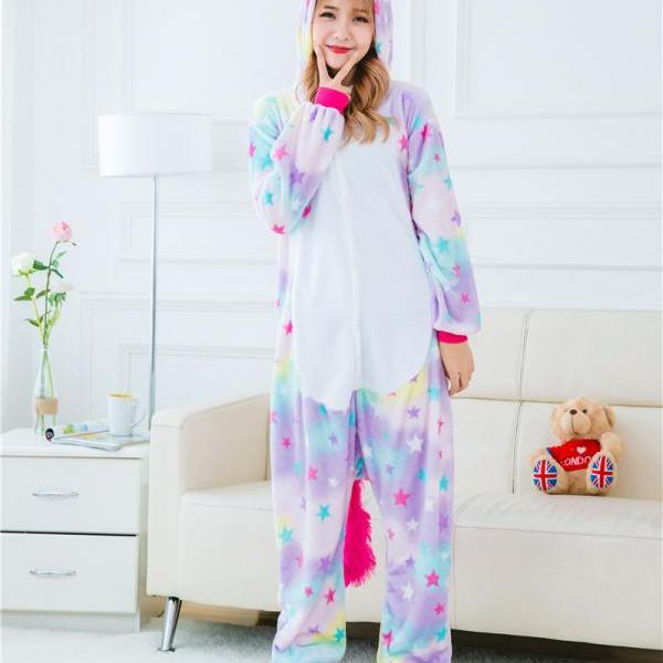 *FREE SHIPPING* Stars Rainbow Unicorn Pajamas Animal Stitch Unicorn Panda Bear Koala Pikachu Onesie Adult Unisex Cosplay Costume Sleepwear For Men Women 2013771880