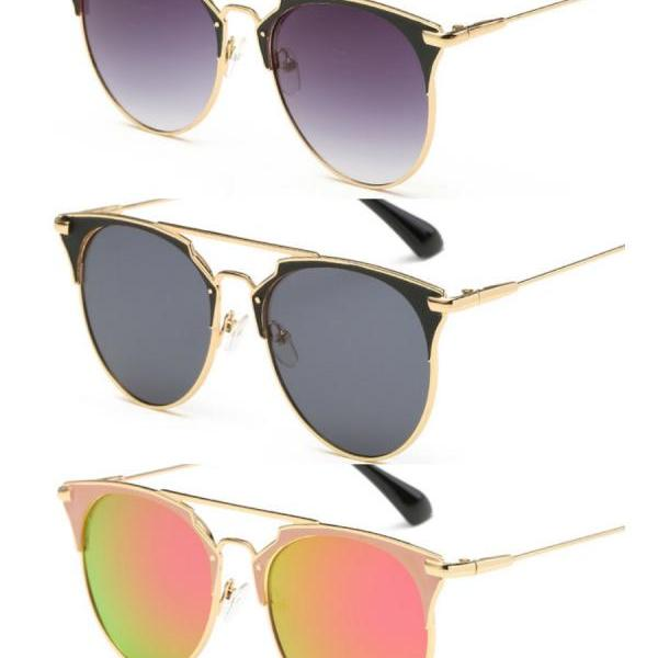 Outdoor Fashion High Quality Women Cat Eye Sunglasses Newest Trendy Metal Twin-Beams Sun Glasses UV Luxury Shade