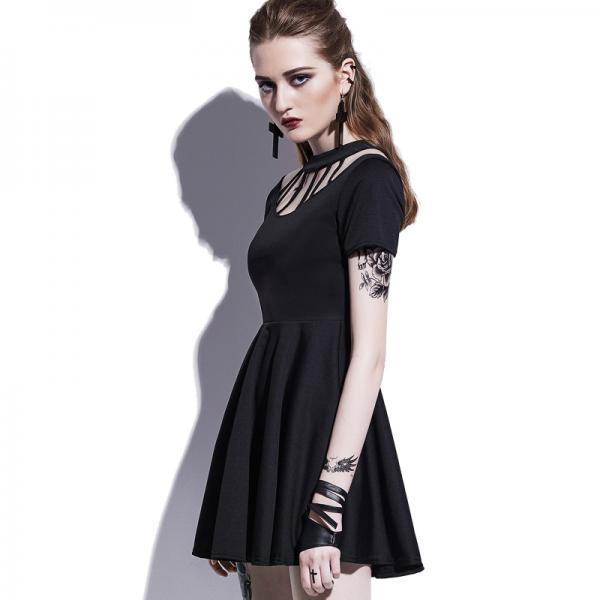 Gothic Dress Women Black Hollow Backless Summer Vampire Witch A-Line Fashion Preppy Street Sexy Wild Goth Mini Dresses 32799075117