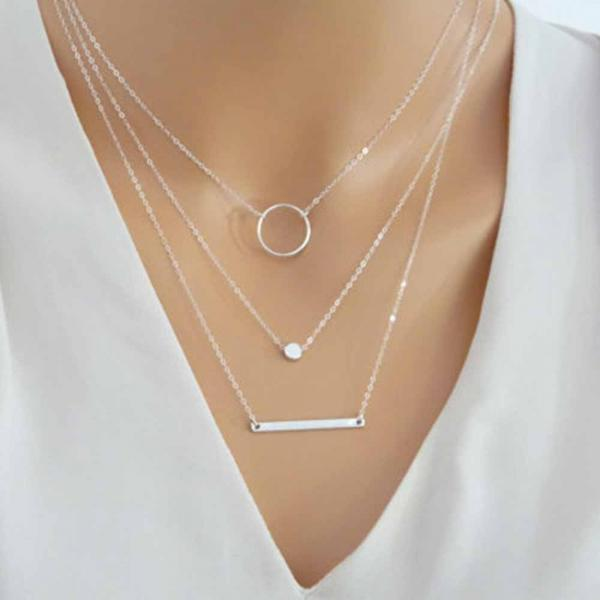 *Free Shipping* New Fashion Wild Aperture Metal Rods Necklace Gold Silver Layered Necklace For Women Charm Gift 32815060570