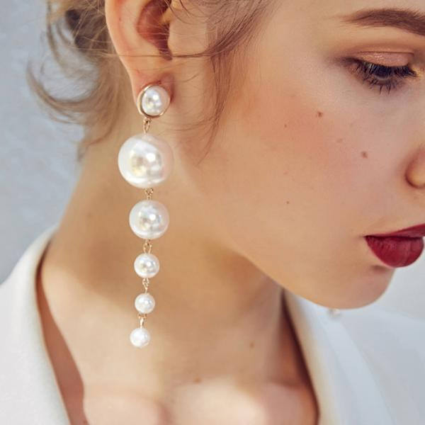 *Free Shipping* Trendy Elegant Created Big Simulated Pearl Long Earrings Pearls String Statement Dangle Earrings For Wedding Party Gift 32843649464