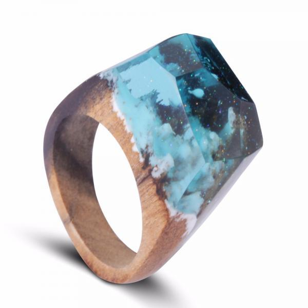 *Free Shipping* Magical Wooden Ring Secret Undersea Gold Flake in Resin Wood Rings Customized Bijoux Handmade Jewelry for Women and Men 32804750184